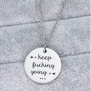 NEW Stainless Steel Keep Going Pendant Necklace